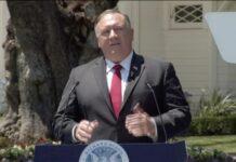 Pie de foto: El 23 de julio, el Secretario de Estado de los Estados Unidos, Mike Pompeo, pronunció un discurso en la Biblioteca Presidencial de Nixon en California (Foto del Departamento de Estado de los EE. UU.)